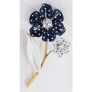 Gold Metal Black & White Polka Flower Broo…